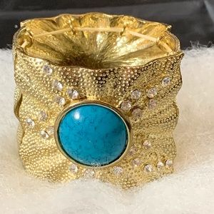 Goldtone turquoise and rhinestone stretch bracelet